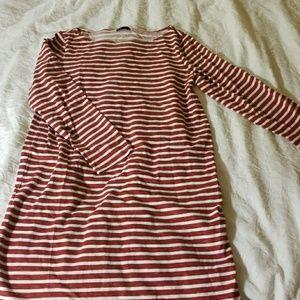 Gap red stripe long sleeve shift dress